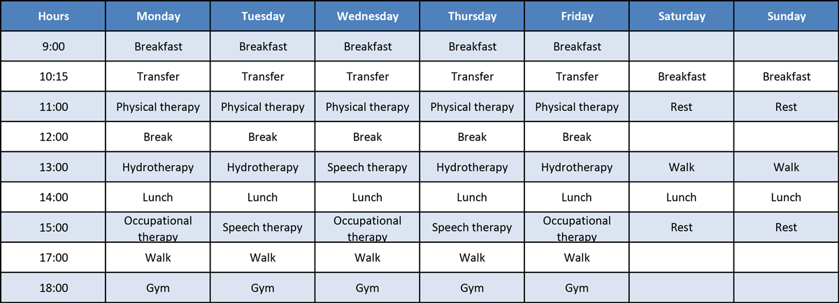 General outpatient schedule