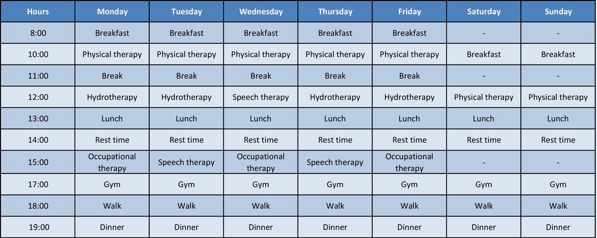 General inpatient schedule